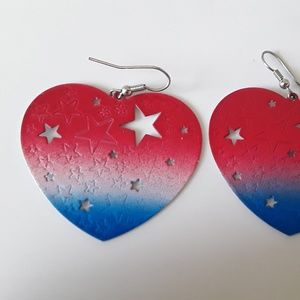 Jewelry - Heart-shaped patriotic red white and blue earrings